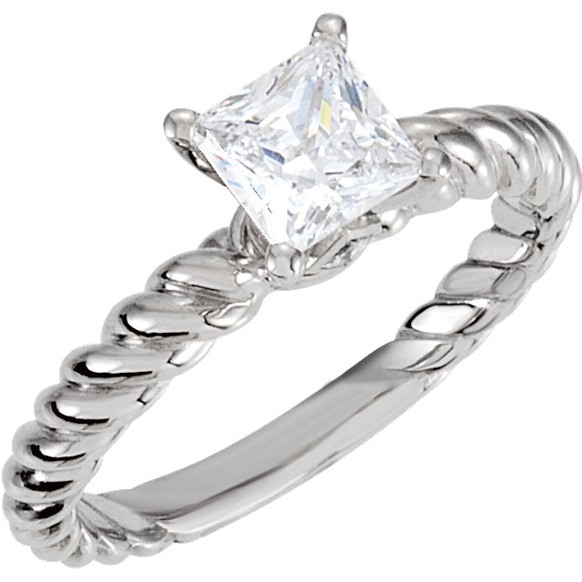 Rope Band Solitaire Engagement Semi mount