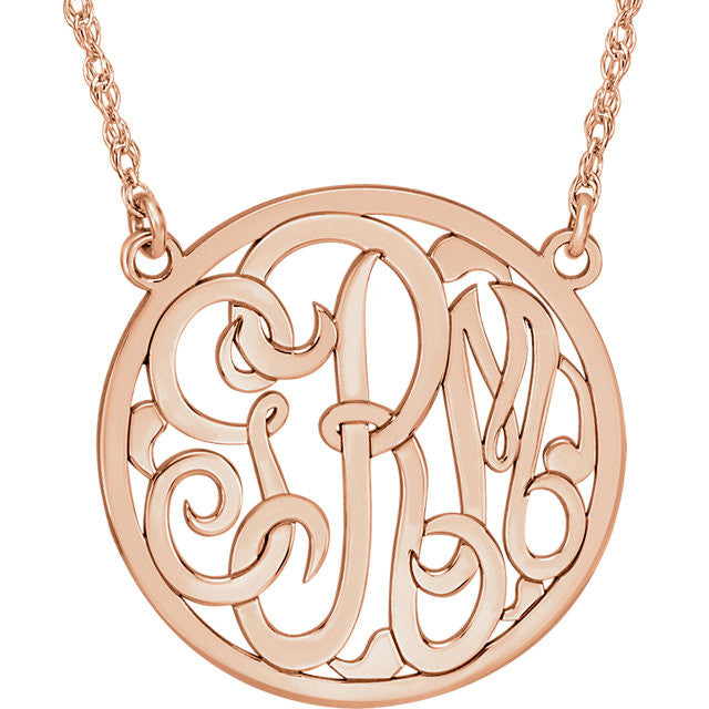 Sterling Silver Plated with 14K Rose 15mm 3-Letter Script Monogram Necklace