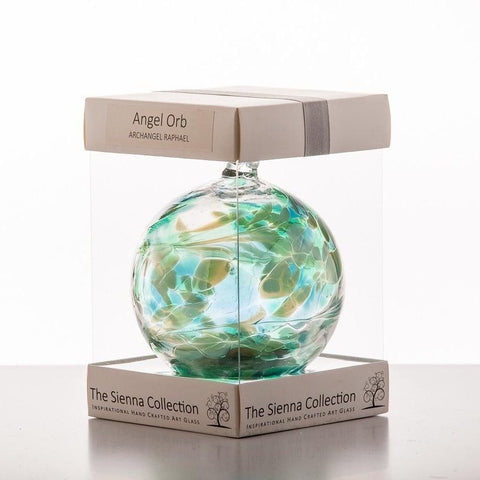 10cm Angel Orb - Raphael / Emerald-Sienna Glass
