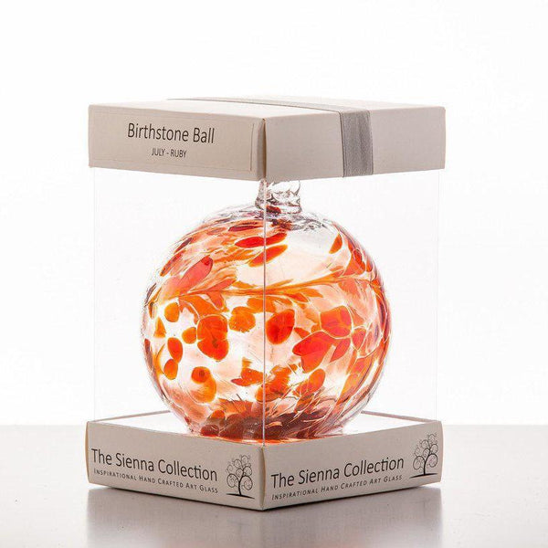 10cm Birthstone Ball - July/Ruby-Sienna Glass