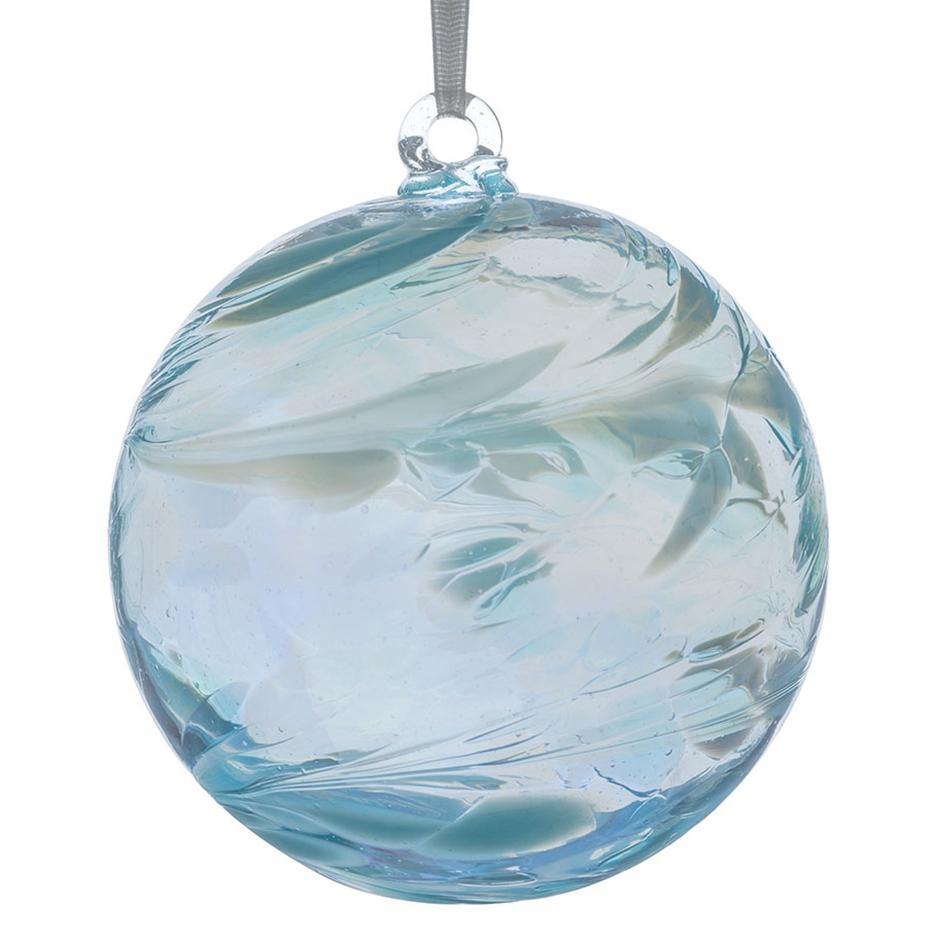 10cm Friendship Ball - Aquamarine-Sienna Glass