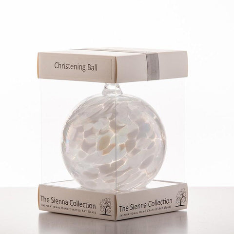 10cm Friendship Ball - Christening - White-Sienna Glass