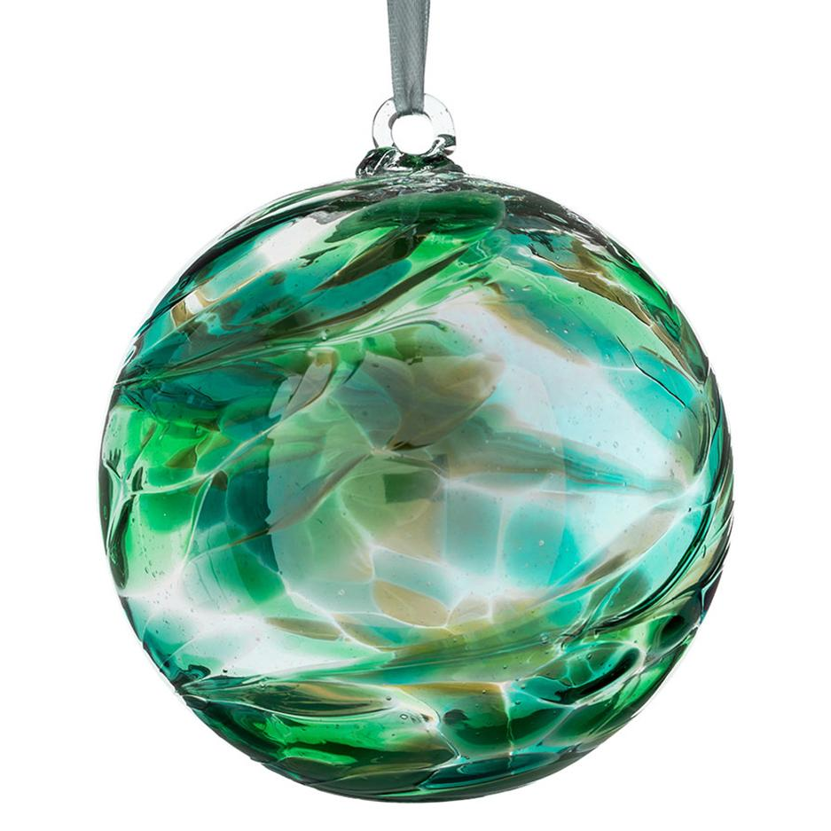 10cm Friendship Ball - Emerald-Sienna Glass