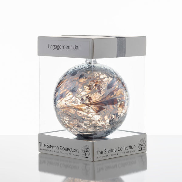 10cm Friendship Ball - Engagement - Pastel Silver-Sienna Glass
