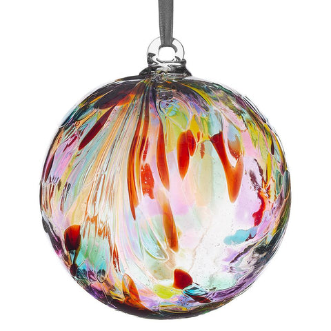 10cm Friendship Ball - Feather Design - Multicoloured-Sienna Glass