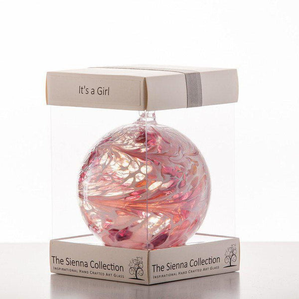 10cm Friendship Ball - 'It's a Girl!' - Pastel Pink-Sienna Glass