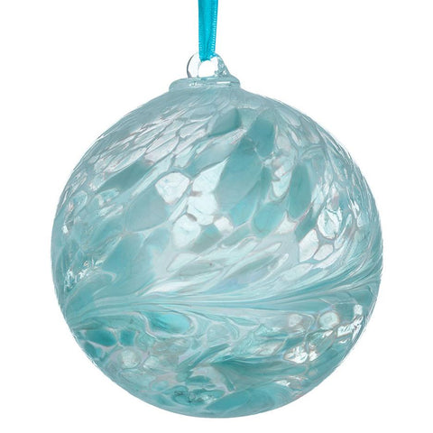 10cm Friendship Ball - Pastel Blue-Sienna Glass