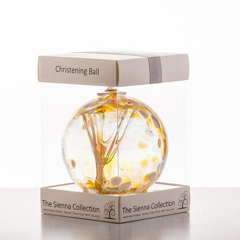 10cm Spirit Ball - Christening - Pastel Gold-Sienna Glass
