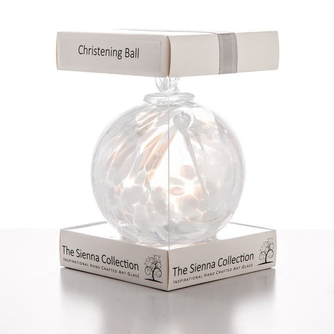 10cm Spirit Ball - Christening - White-Sienna Glass