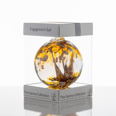 10cm Spirit Ball - Engagement - Pastel Gold-Sienna Glass