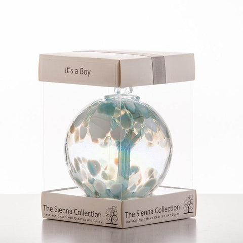 10cm Spirit Ball - 'It's a Boy!' - Pastel Blue-Sienna Glass