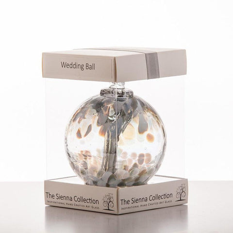 10cm Spirit Ball - Wedding - Pastel Silver-Sienna Glass