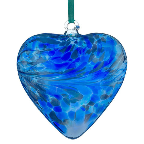 12cm Friendship Heart - Blue-Sienna Glass