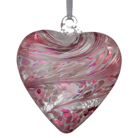 12cm Friendship Heart - Pastel Pink-Sienna Glass