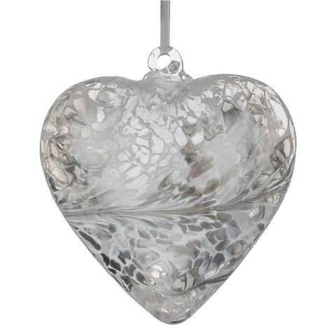 12cm Friendship Heart - Pastel Silver-Sienna Glass