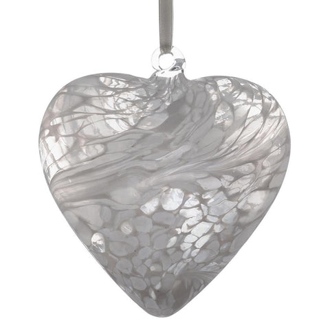 12cm Friendship Heart - White-Sienna Glass