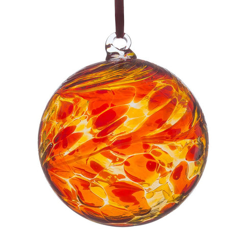 8cm Friendship Ball - Red & Yellow-Sienna Glass