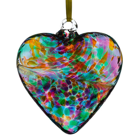 8cm Friendship Heart - Multicoloured Turquoise-Sienna Glass