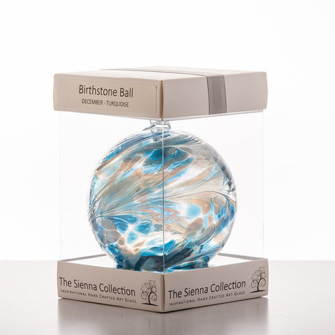 10cm Birthstone Ball - December/Turquoise-Sienna Glass