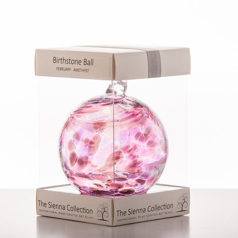 10cm Birthstone Ball - February/Amethyst-Sienna Glass