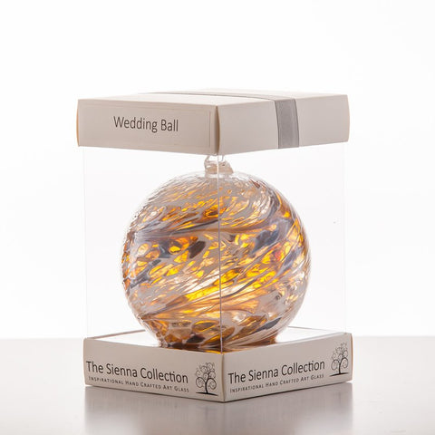 10cm Friendship Ball - Wedding - Pastel Gold-Sienna Glass