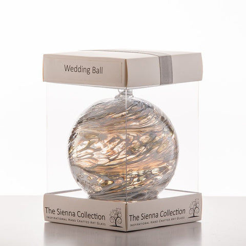 10cm Friendship Ball - Wedding - Pastel Silver-Sienna Glass