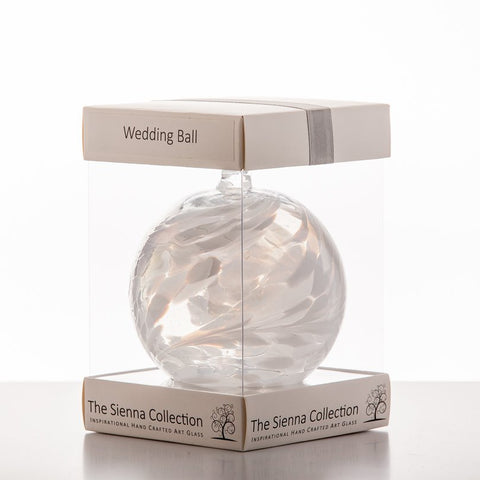 10cm Friendship Ball - Wedding - White-Sienna Glass