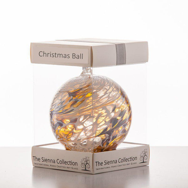 10cm Friendship Ball - Christmas Ball - Pastel Gold-Sienna Glass