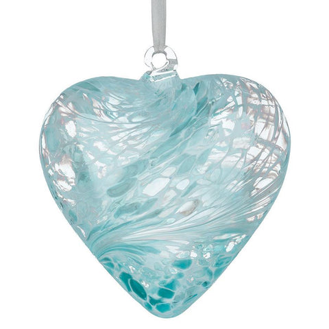 8cm Friendship Heart - Pastel Blue-Sienna Glass