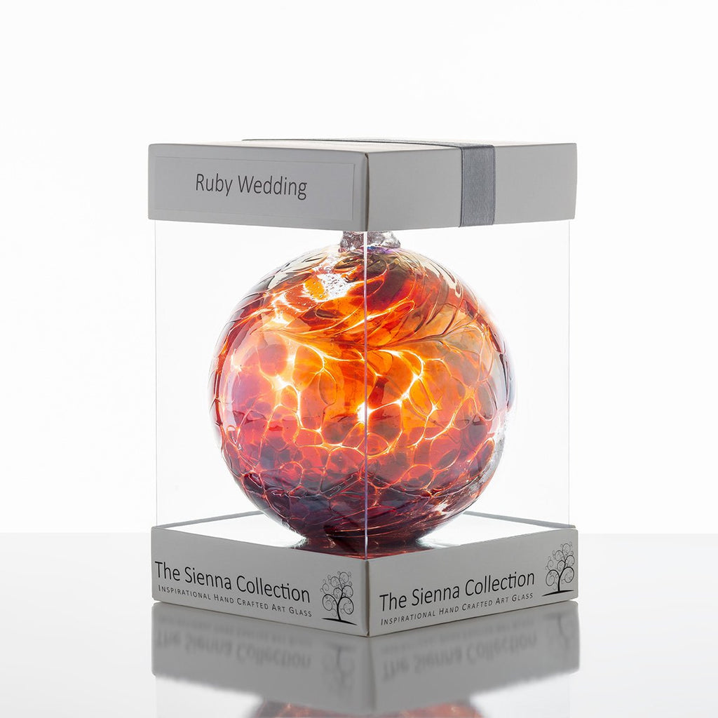 10cm Friendship Ball - 40th Wedding Anniversary - Ruby-Sienna Glass