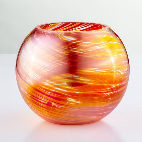 Blown Glass Tealight Holder - Red