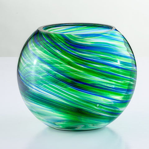 Blown Glass Tealight Holder - Green