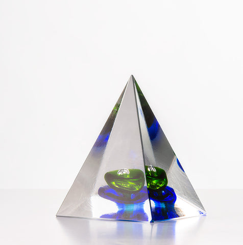 Pyramid Paperweight - Green & Blue