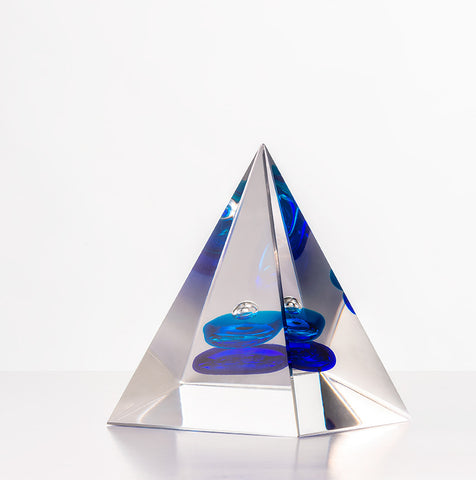 Pyramid Paperweight -  Blue