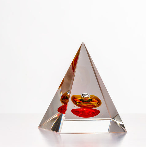 Pyramid Paperweight -  Red & Yellow