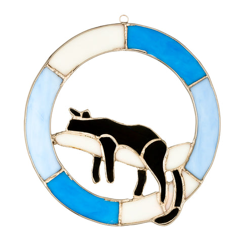 "Hanging Stained Glass Circle - Cat Design - Blue - ""Do not Disturb"""
