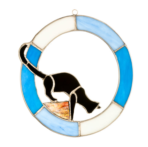 "Hanging Stained Glass Circle - Cat Design - Blue - ""Ready to Pounce"""