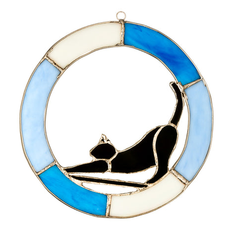 "Hanging Stained Glass Circle - Cat Design - Blue - ""Time to Wake Up"""