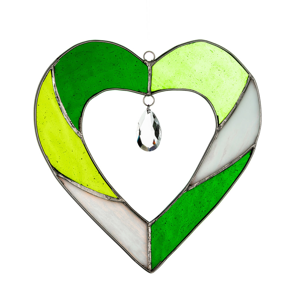 Hanging Stained Glass Heart Green Sienna Glass