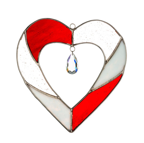 Hanging Stained Glass Heart - Red
