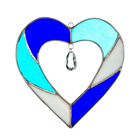 Hanging Stained Glass Heart - Blue