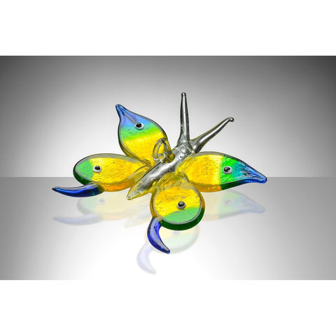 Butterfly – Blue, Green and Yellow-Sienna Glass