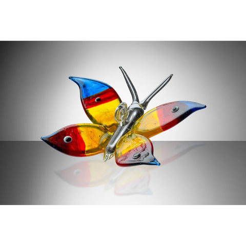 Butterfly – Blue, Red and Yellow-Sienna Glass