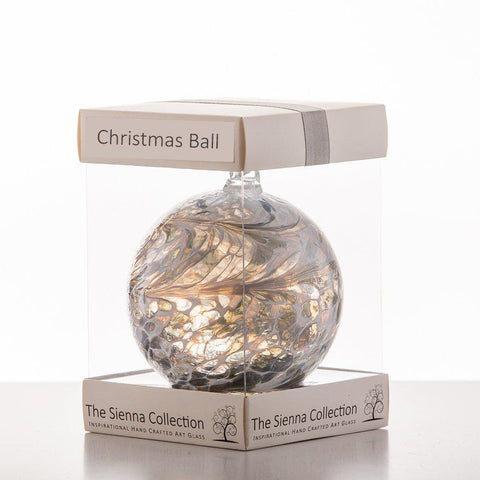 10cm Friendship Ball - Christmas Ball - Pastel Silver-Sienna Glass