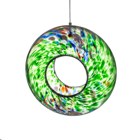 Hanging Bird Feeder - Green-Sienna Glass