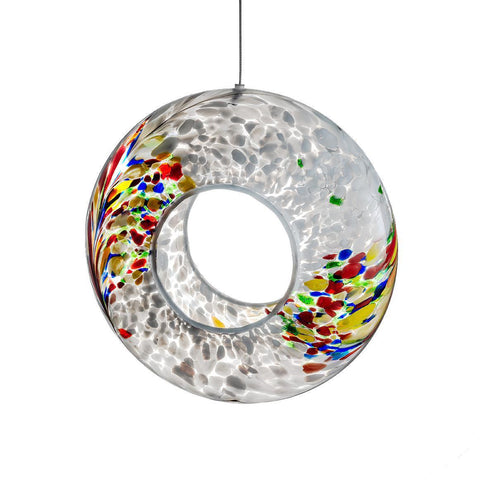 Hanging Bird Feeder - White-Sienna Glass