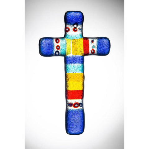 Hanging Glass Cross - Multicoloured-Sienna Glass