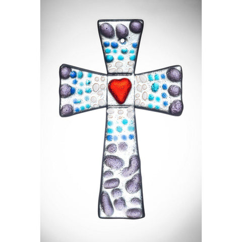 Hanging Glass Cross - Purple & Blue-Sienna Glass