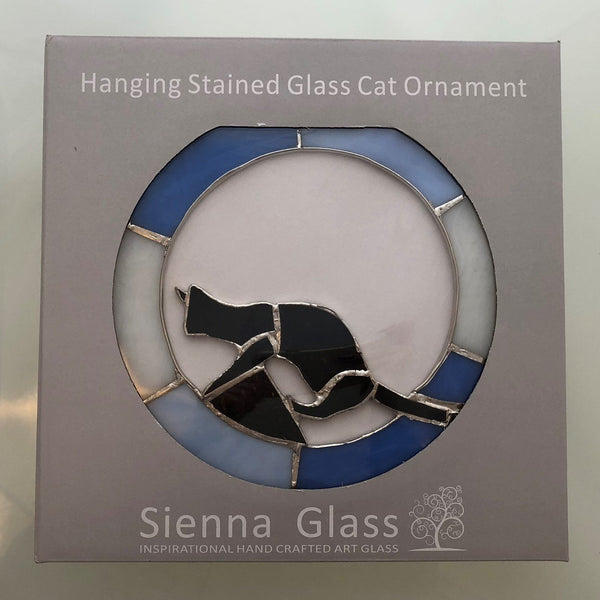 "Hanging Stained Glass Circle - Cat Design - Blue - ""Ready to Pounce""-Sienna Glass"