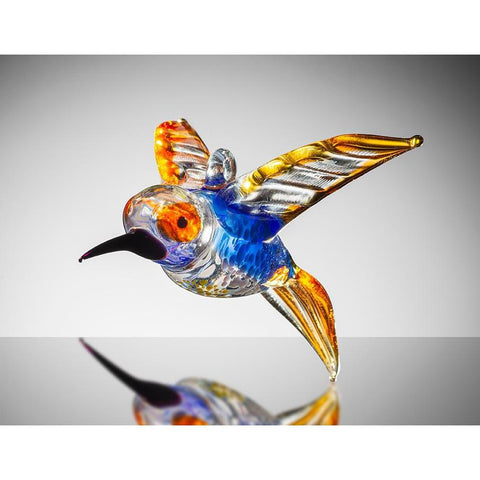 Large Bird - Hummingbird – Orange and Blue-Sienna Glass